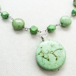 Sterling Silver Green stone necklace